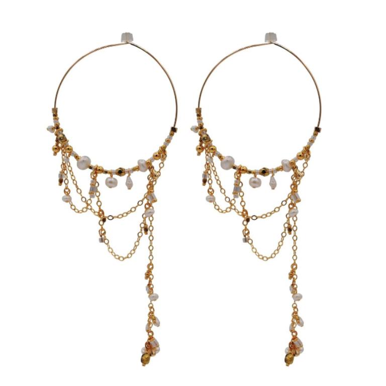Pearly Nights Hoop Earrings
