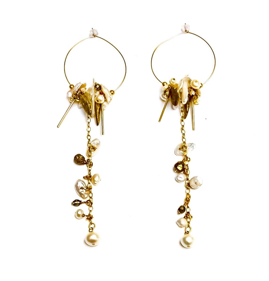 Pearl Island Hoop Earrings