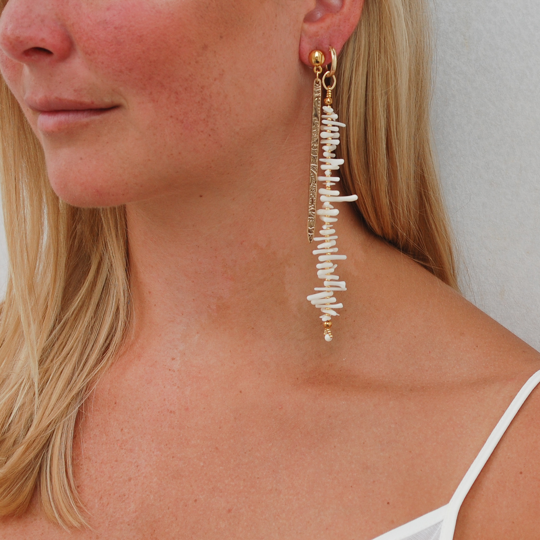 Coral Me Crazy Huggie Earrings in White