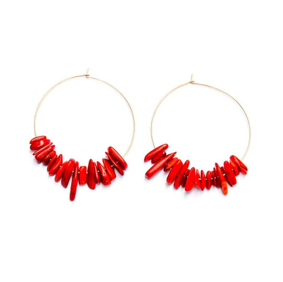 Sea-ing Red Hoop Earrings
