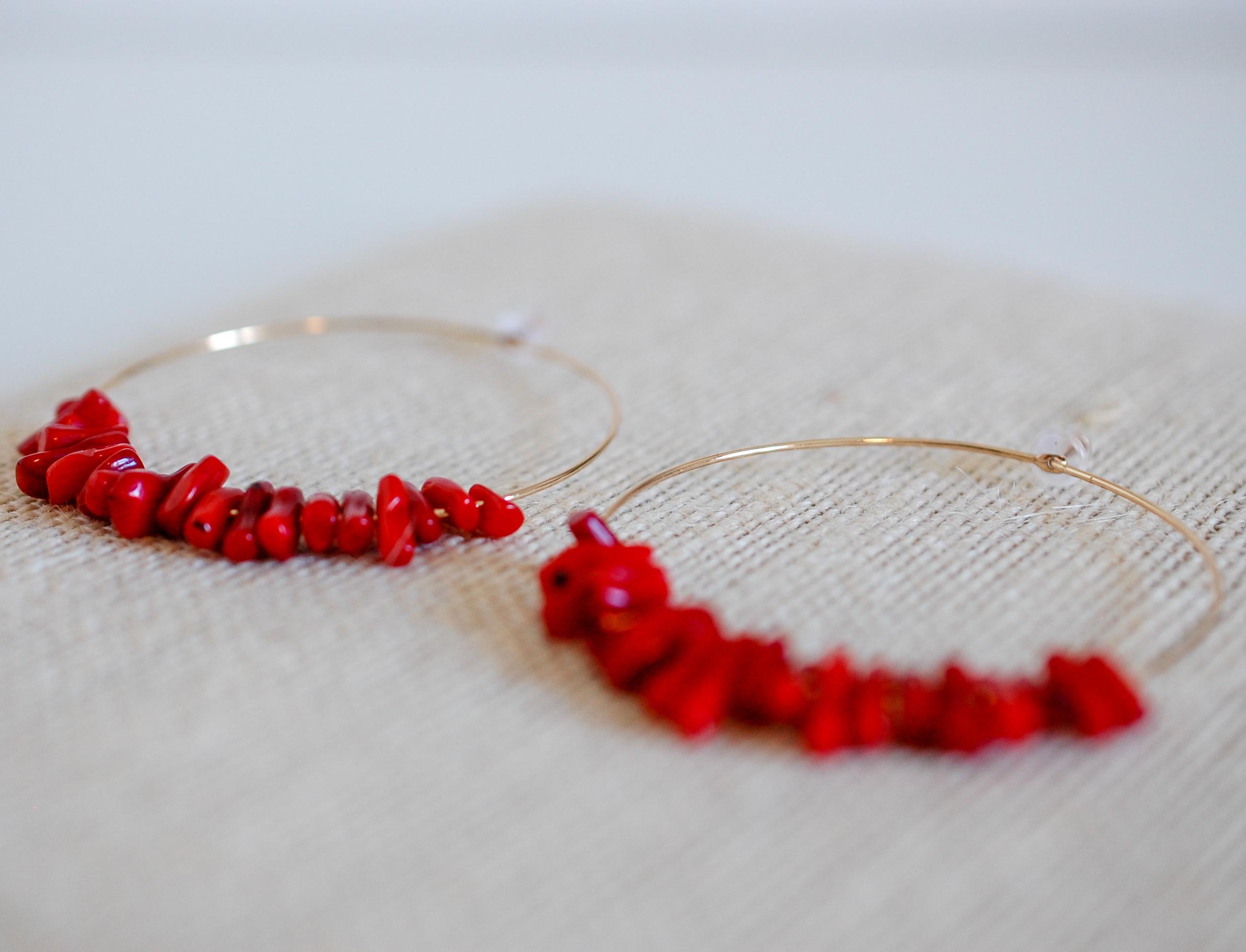 Sea-ing Red Hoop Earrings
