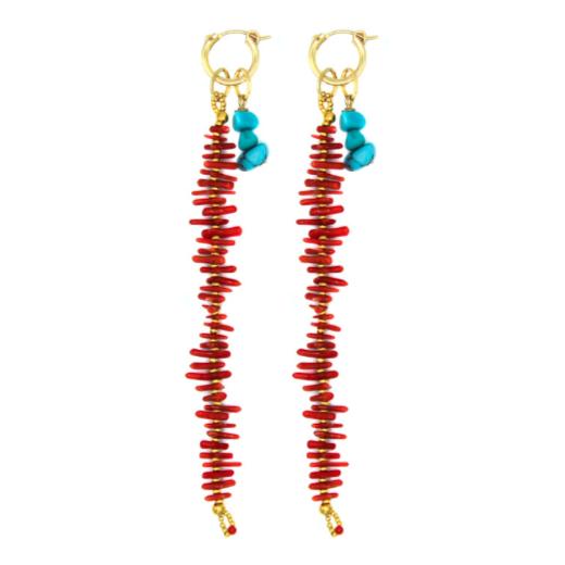 Coral Me Crazy Huggie Earrings in Red
