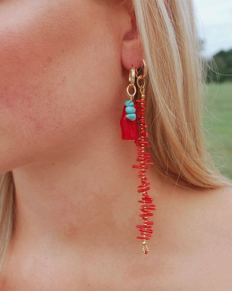 Coral Me Crazy Huggie Earrings in Red