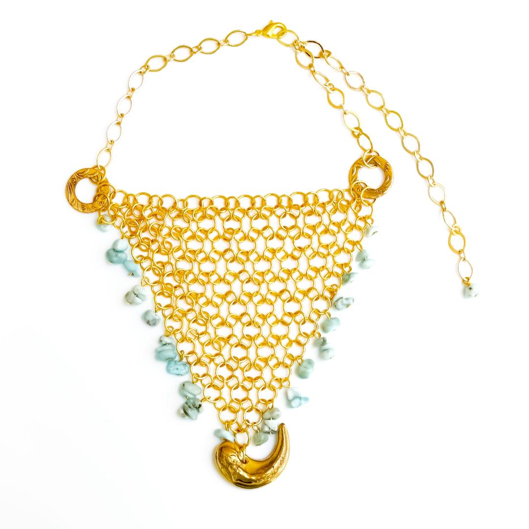 Deep Sea Net Necklace in Turquoise
