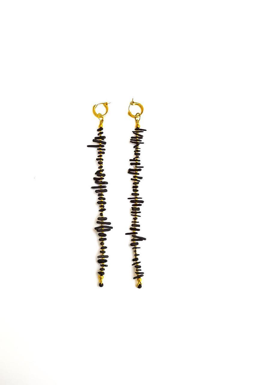 Coral Me Crazy Huggie Earrings in Black
