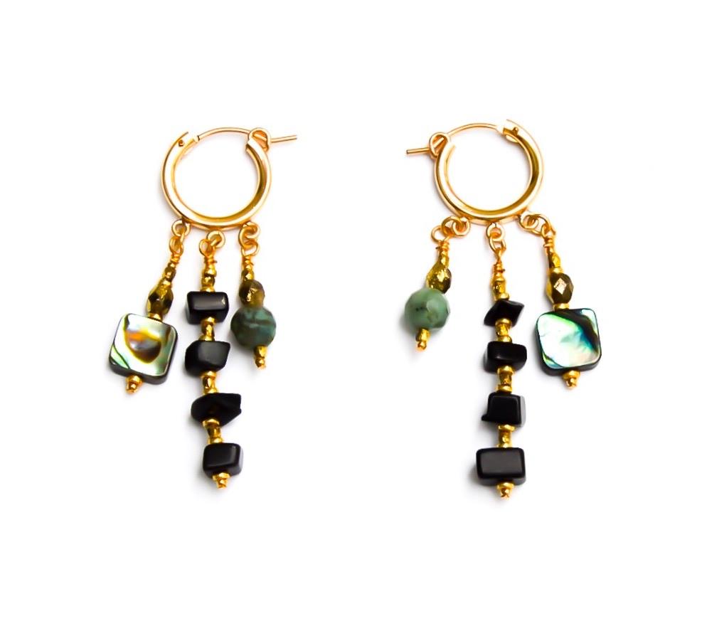 Coral Me A Lil Crazy Huggie Earrings in Black
