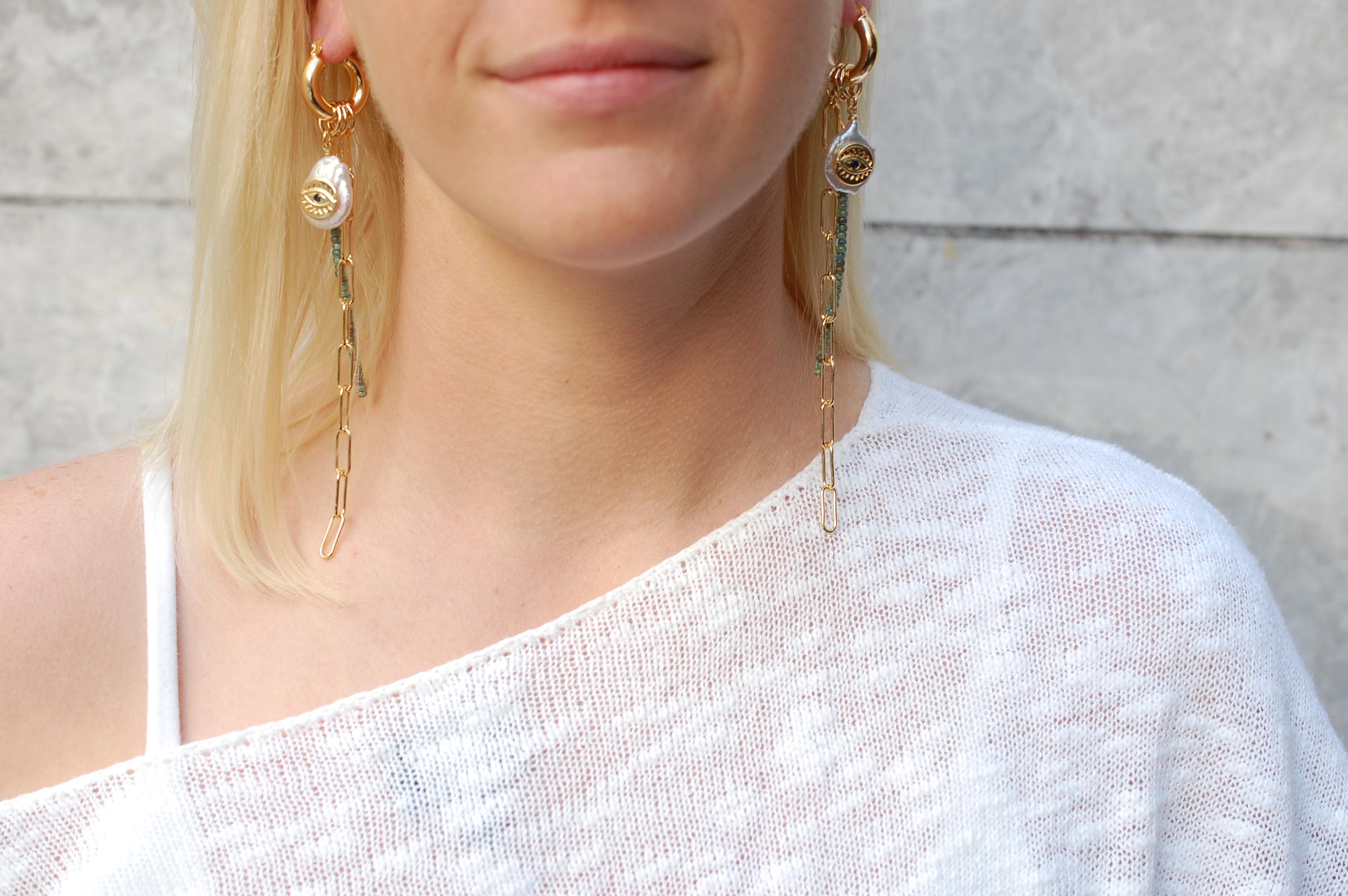 Eye-land Time Hoop Earrings