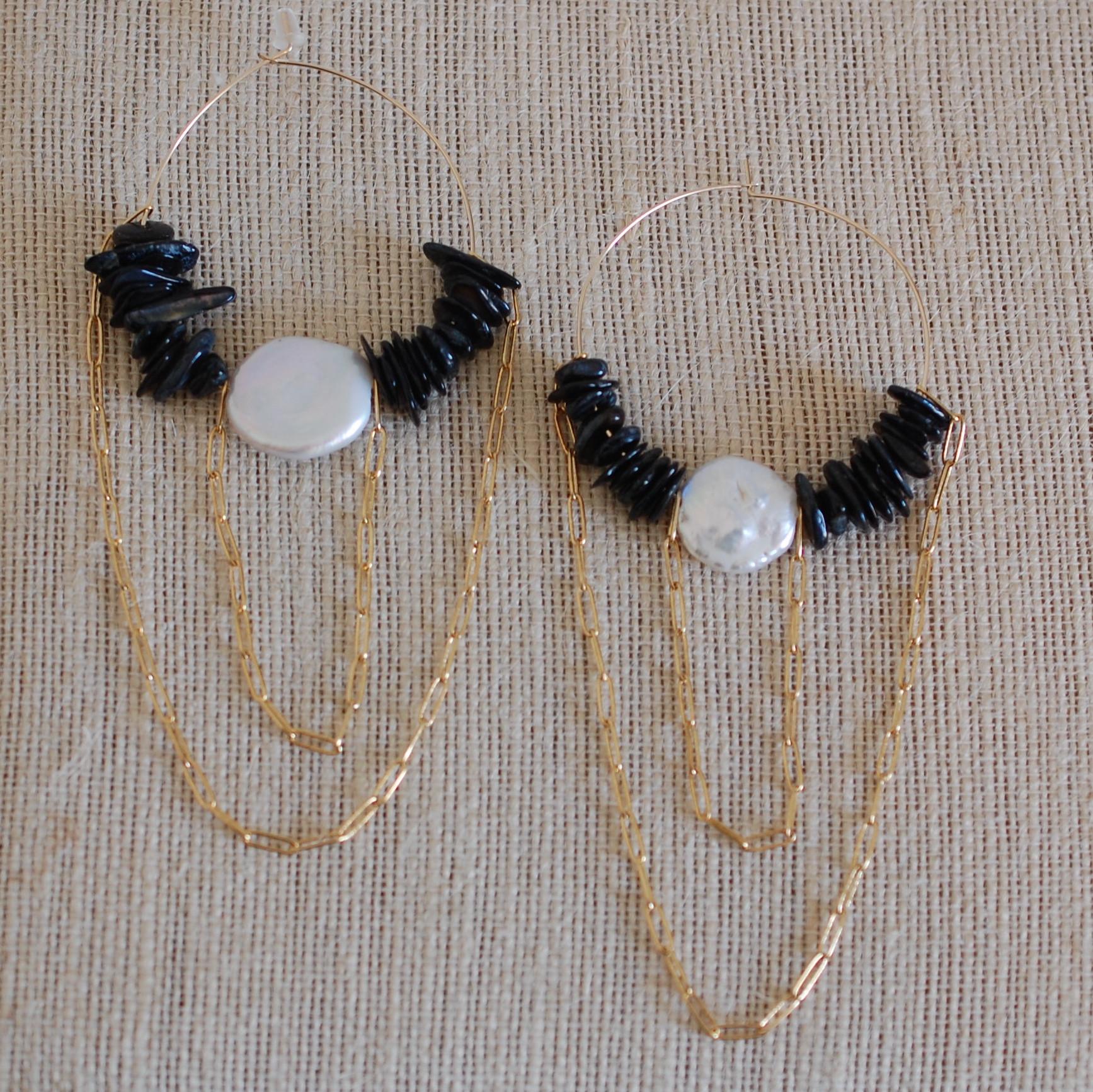 Off The Grid In Black Coral Hoop Earrings