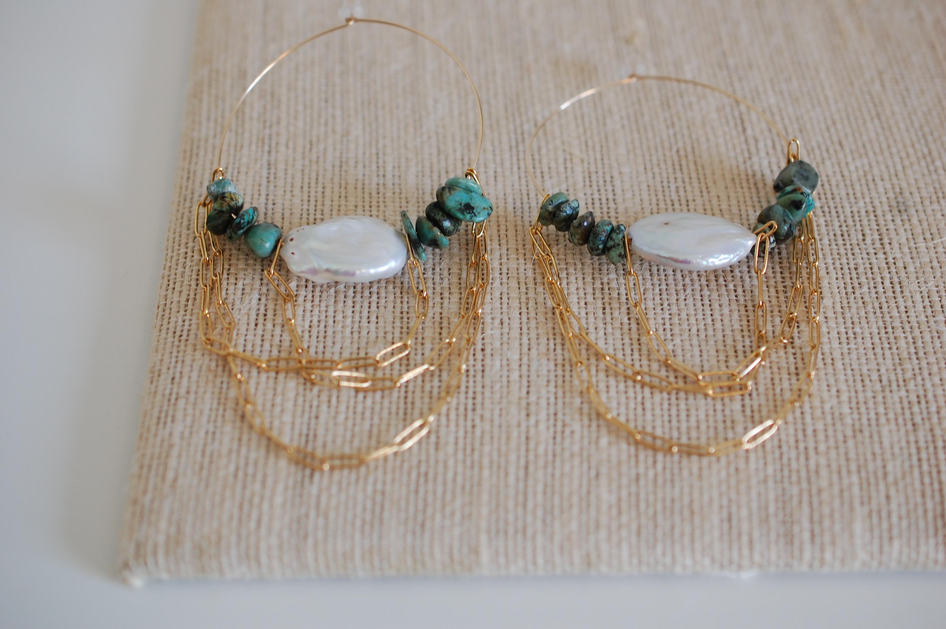 Off The Grid in Turquoise Hoop Earrings