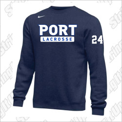 Port Washington Lacrosse Nike Club Fleece Pullover Crew - NAVY