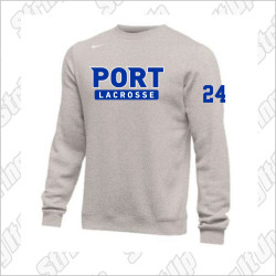 Port Washington Lacrosse Nike Club Fleece Pullover Crew - GREY
