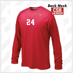 CSH Varsity Lacrosse Nike Legend Dri-Fit Long Sleeve Tee - Red