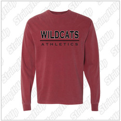 Wildcat Booster - ComfortWash by Hanes - Garment Dyed Long Sleeve T-Shirt - Brick
