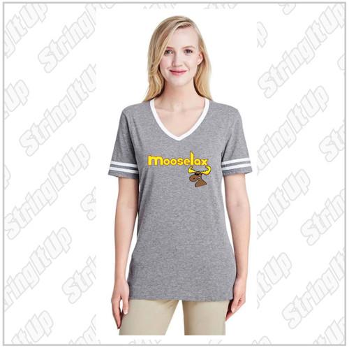 MooseLax Women's Jerzees - Triblend V-Neck Varsity T-Shirt
