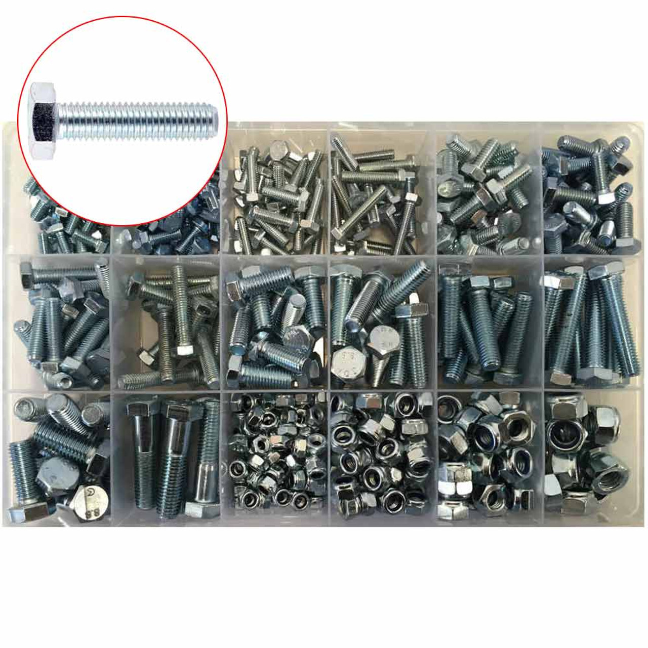 Assorted UNF Zinc Plated Hex Nyloc Nuts Refill Pack