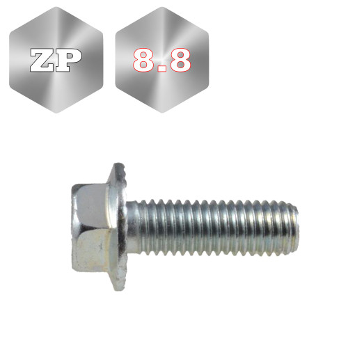8.8 Metric Flange Serrated Bolt Zinc Plated Coarse Thread (F1071)