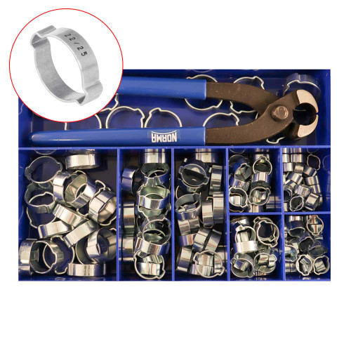 Norma Two Ear Mild Steel Clamp Kit 150 Piece (HCDEKIT150)