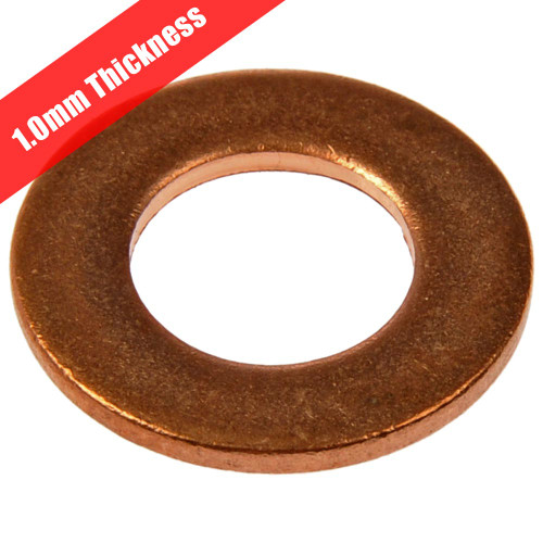 Copper Washers Metric 20 Pack - 1mm Thickness