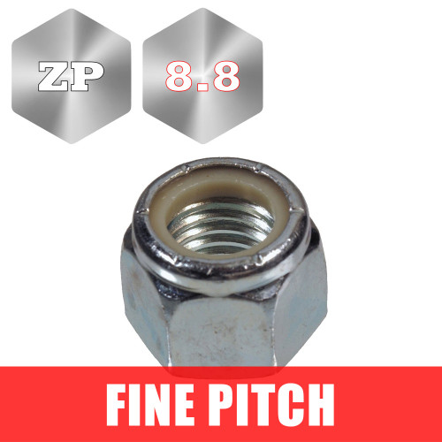 Metric Fine Pitch Zinc Plated Nyloc Nuts, Pack of 20