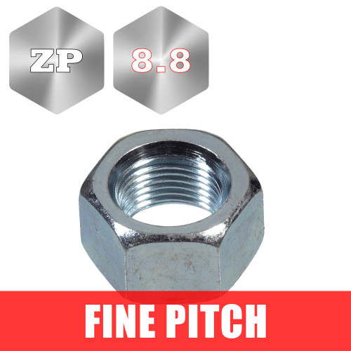 Metric Fine Pitch Zinc Plated Hex Nuts, Pack of 10