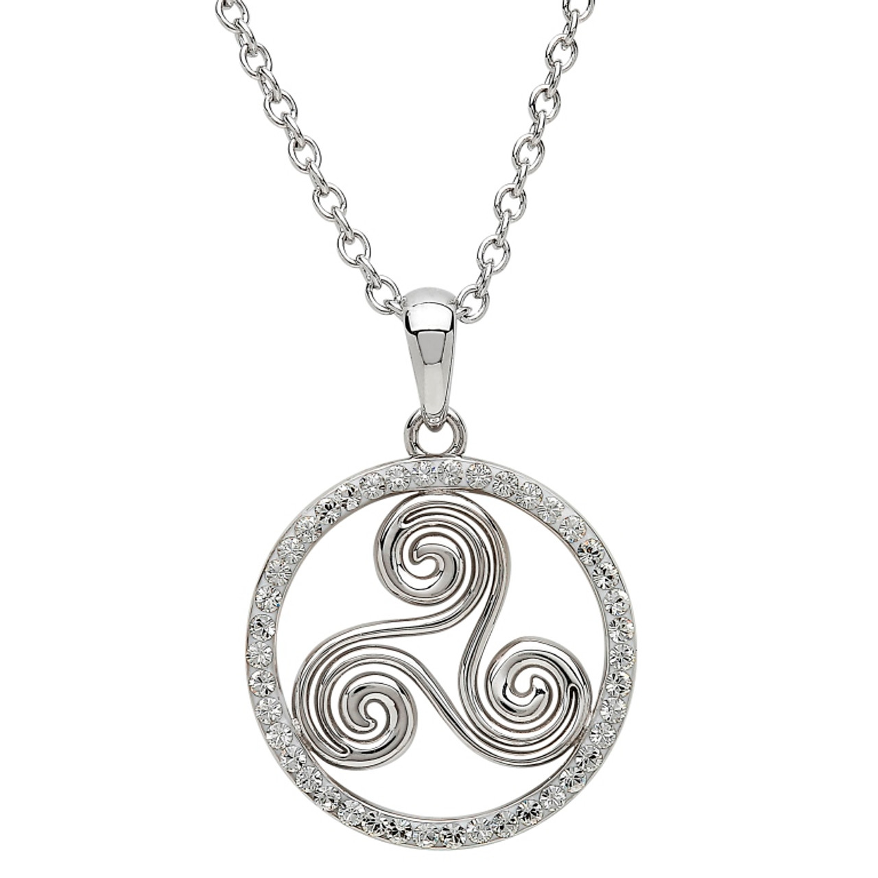 7038c61bc15f1 Sterling Silver Newgrange Spiral Pendant Embellished with Swarovski® White  Crystals