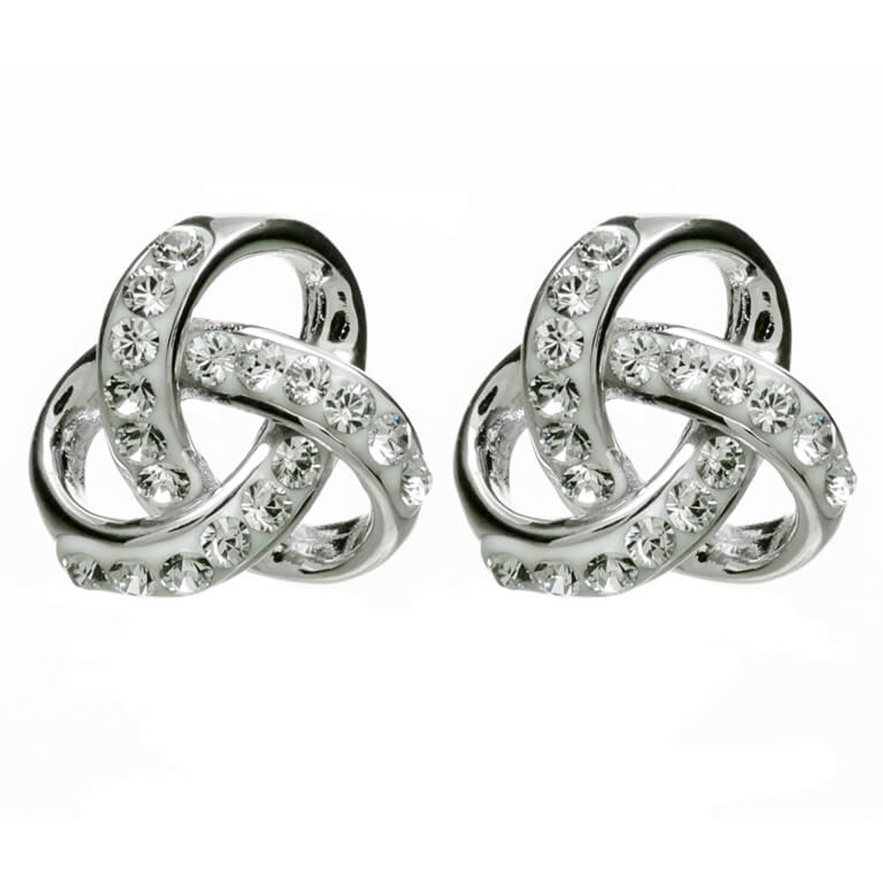 814400be0 Sterling Silver Rounded Celtic Trinity Knot Stud Earrings Embellished with  Swarovski® White Crystals