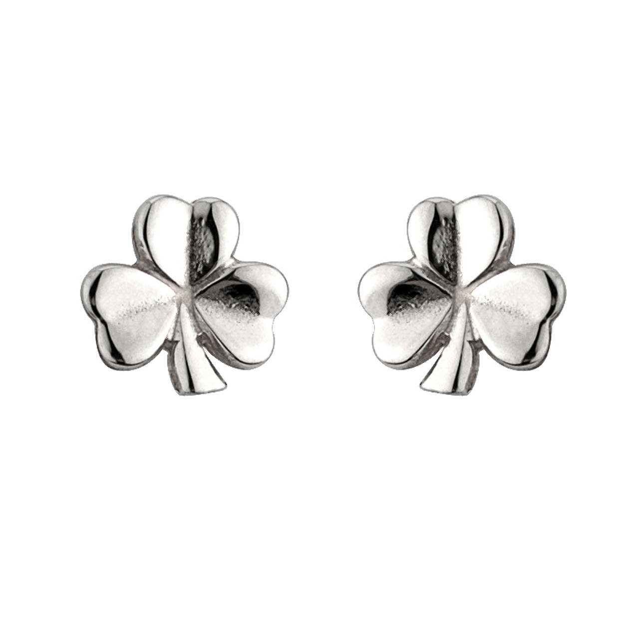 11883ad21 Sterling Silver Shiny Shamrock Stud Earrings - The Twisted Shamrock