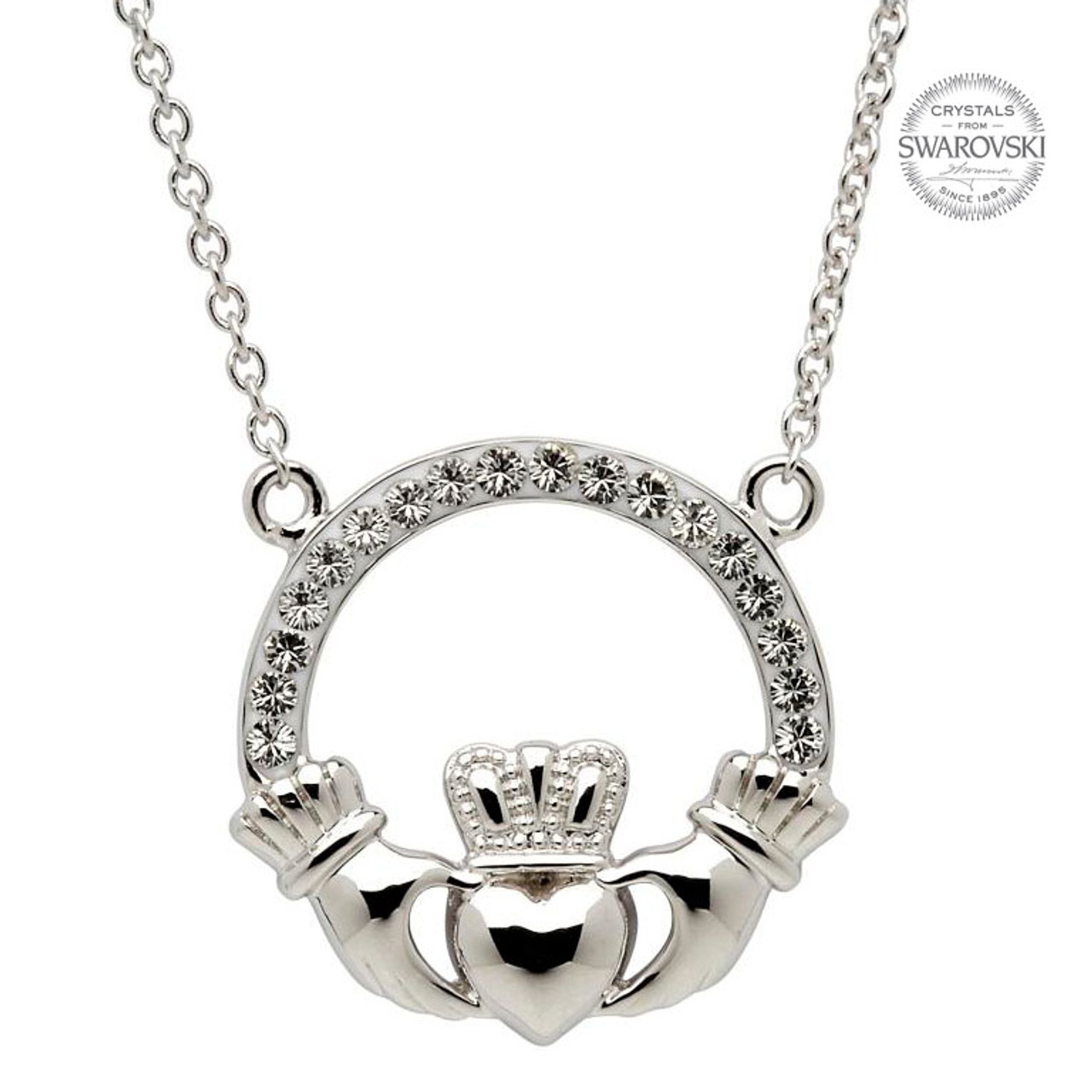 Sterling Silver Claddagh Pendant (Double Ring) Embellished with Swarovski®  White Crystals f366f76c42