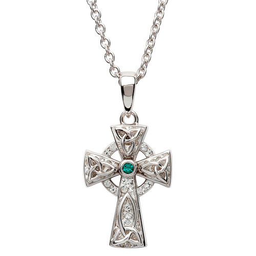 Sterling Silver Solid Trinity Knot Celtic Cross Pendant Embellished with Swarovski® Emerald and White Crystals