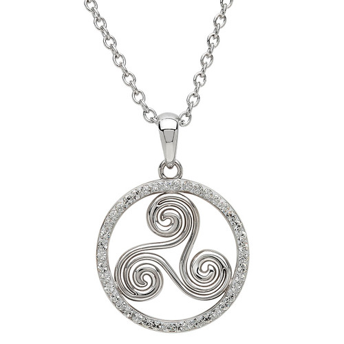 Sterling Silver Newgrange Spiral Pendant Embellished with Swarovski® White Crystals