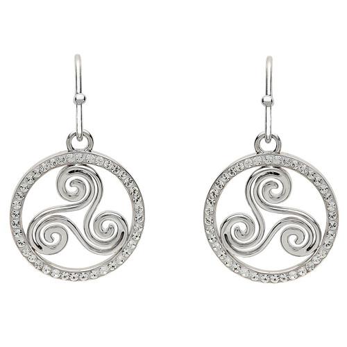 Sterling Silver Newgrange Spiral Drop Earrings Embellished with Swarovski® White Crystals