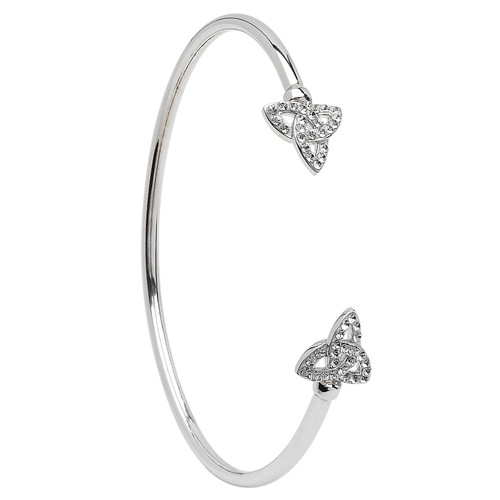 Sterling Silver Celtic Trinity Knot Bangle Embellished with Swarovski® White Crystals