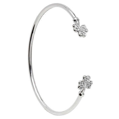 Sterling Silver Shamrock Bangle Embellished with Swarovski® White Crystals
