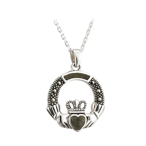 Sterling Silver Connemara Marble & Marcasite Claddagh Pendant