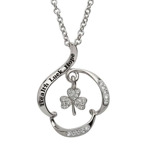 "Sterling Silver ""Health Luck Hope"" Shamrock Pendant Embellished with Swarovski® White Crystals"