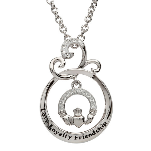 "Sterling Silver ""Love Loyalty Friendship"" Claddagh Pendant Embellished with Swarovski® White Crystals"