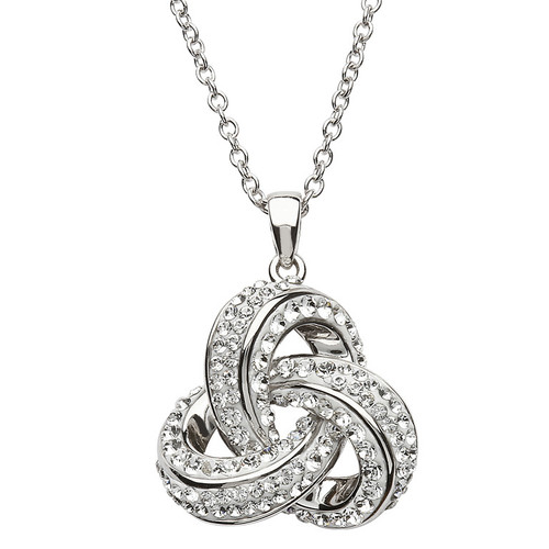 Sterling Silver Rounded Celtic Trinity Knot Pendant Embellished with Swarovski® White Crystals