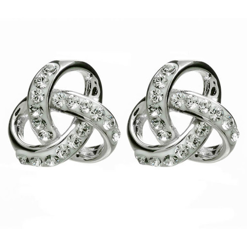 Sterling Silver Rounded Celtic Trinity Knot Stud Earrings Embellished with Swarovski® White Crystals