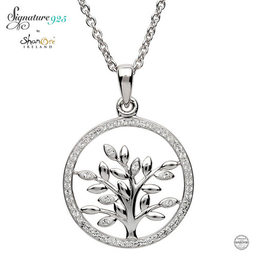 Sterling Silver Tree of Life Pendant Embellished with Swarovski® White Crystals