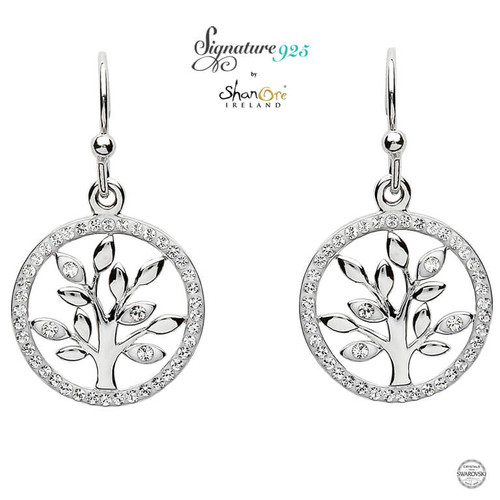 Sterling Silver Tree of Life Drop Earrings Embellished with Swarovski® White Crystals