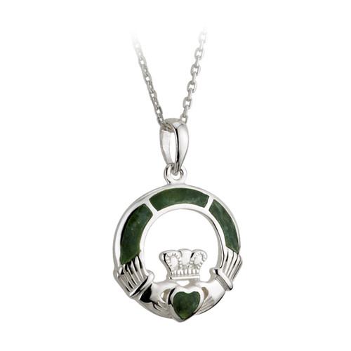 Sterling Silver Connemara Marble Claddagh Pendant