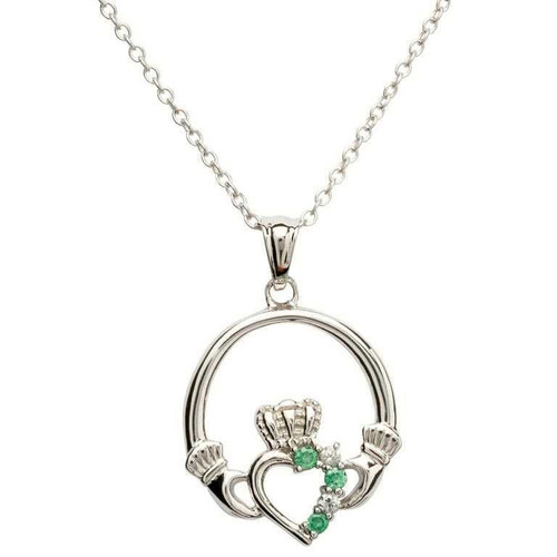Sterling Silver Green and White CZ Claddagh Pendant