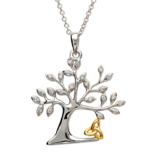 Sterling Silver Tree of Life Celtic Trinity Knot CZ Pendant