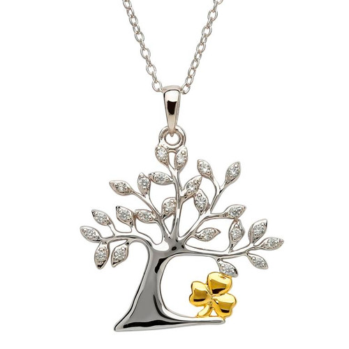 Sterling Silver Tree of Life Shamrock CZ Pendant