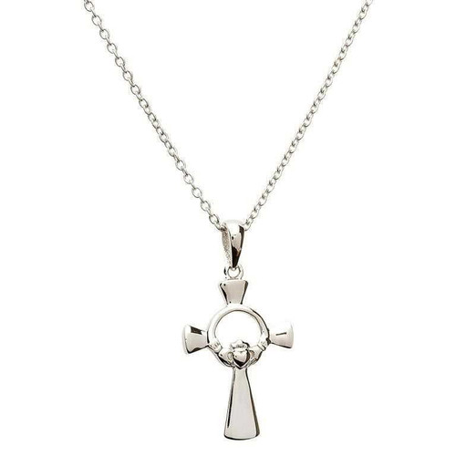 Sterling Silver Claddagh Cross Pendant