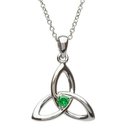 Sterling Silver Celtic Trinity Knot with Green CZ Pendant
