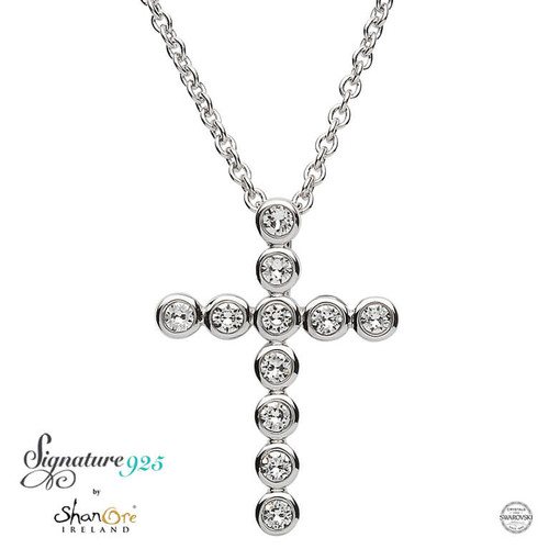 Sterling Silver Circular Cross Pendant Embellished with Swarovski® White Crystals