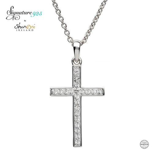 Sterling Silver Simple Cross Pendant Embellished with Swarovski® White Crystals