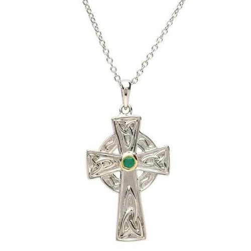Sterling Silver Green CZ Set Celtic Cross Pendant