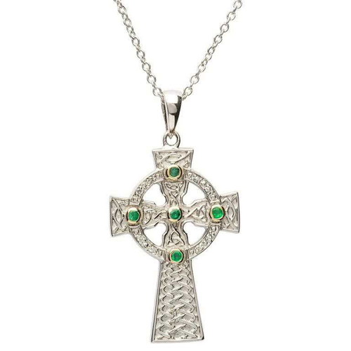 Sterling Silver Green CZ Set Celtic Knot Cross Pendant
